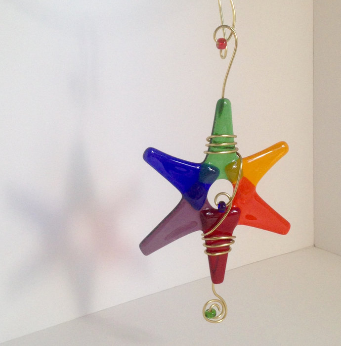These Rainbow Star Christmas Ornaments are made with Fused Glass. Great for