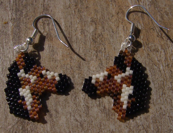 Painted Pony Earrings Hand Made Seed Beaded Bead Work