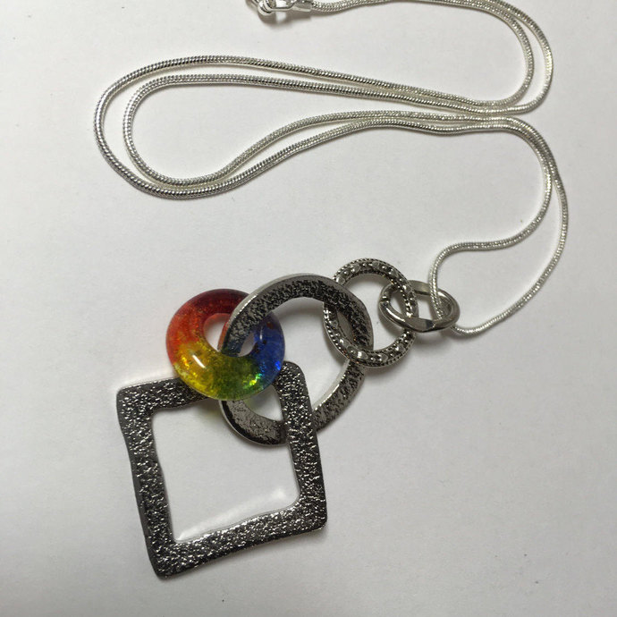 Handmade Glass Charm Pendant, Lifesaver Bead Necklace, LGBT Jewelry,  Earring/