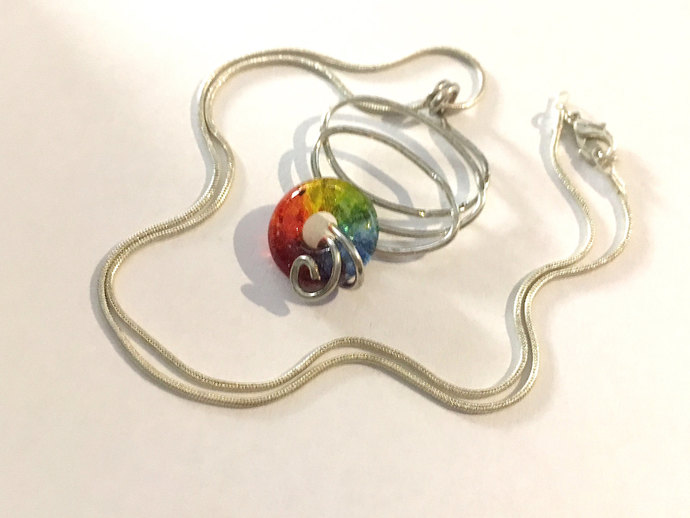 Boho Necklace, Handmade Glass Pendant in Rainbow colors, Lifesaver Bead,