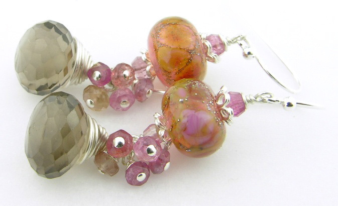Smoky Baubles Earrings - handmade artisan sterling silver cluster dangle mauve