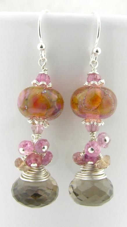 Smoky Baubles Earrings - handmade artisan sterling silver cluster dangle mauve