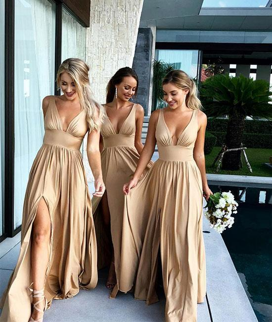 Champagne V-Neck Long Bridesmaid Dress with Split