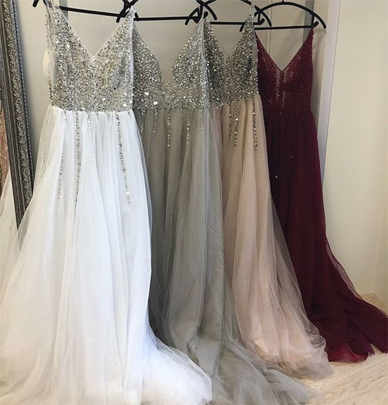 Deep V Neck Long Tulle Split Prom Evening Dresses With Sequins And Beads