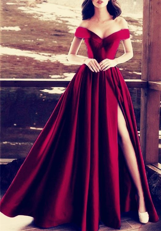 Elegant V-neck Off The Shoulder Long Satin Prom Dresses Burgundy Evening Formal
