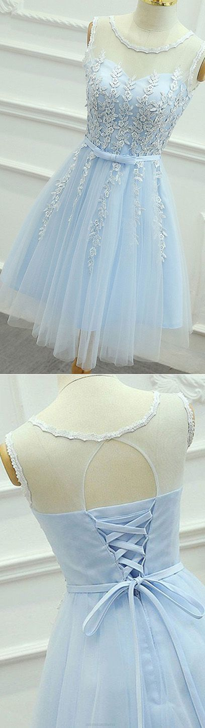 Light Blue Homecoming Dress, Short Party Dress, Scoop Appliques Party Dress 1189