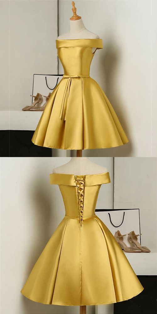 Gold Short Party Dress, Simple Off Shoulder Homecoming Dress 1198
