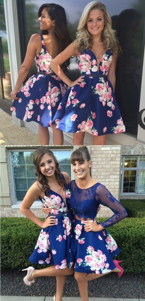 Modern V-neck Short Dark Blue Floral Open Back with Beading Waist Homecoming