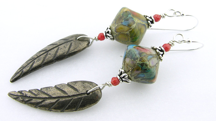 Golden Leaf Earrings - gold pyrite red coral drop sterling silver turquoise