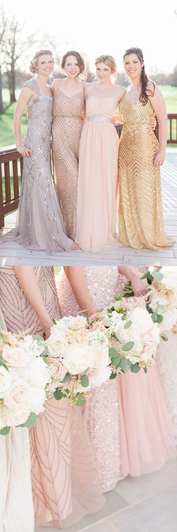 Sparkle V-neck Floor Length Champagne Bridesmaid Dress