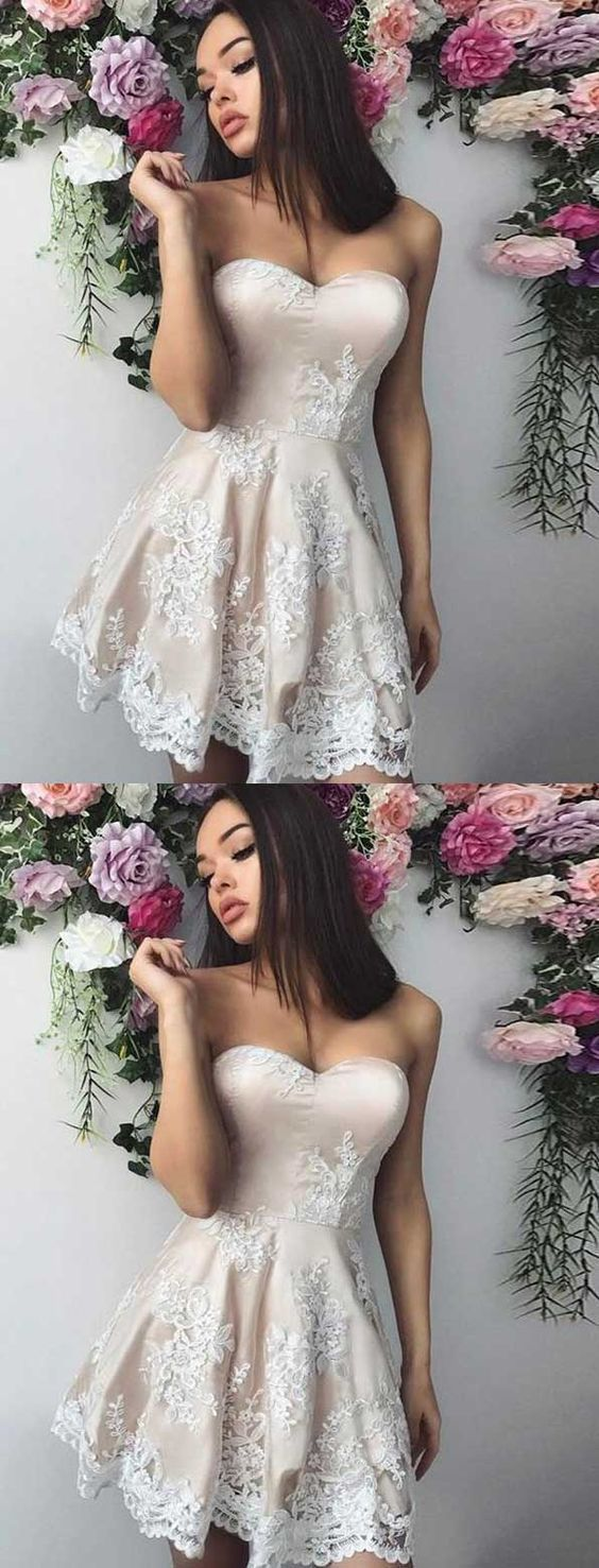 short lace homecoming dress, fashion sweetheart prom dress 1223