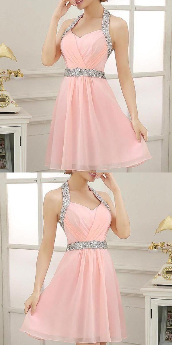 A-line Halter Pink Chiffon Beaded Short Homecoming Dress 1230