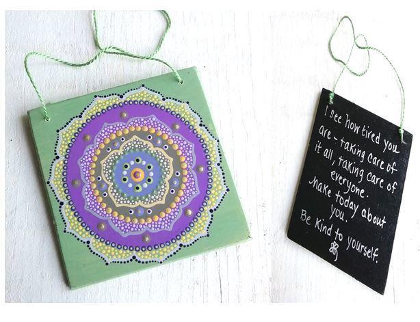 Garden Lotus Mandala on Green-Inspirational Word Sign-OOAK