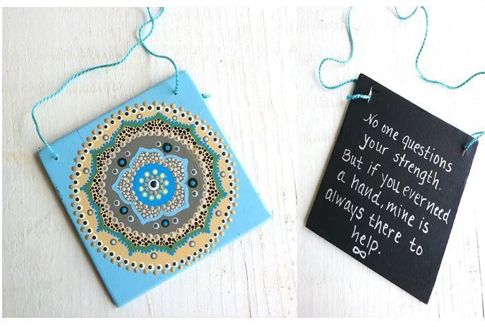 Ocean Lotus Mandala on Blue-Inspirational Word Sign-OOAK