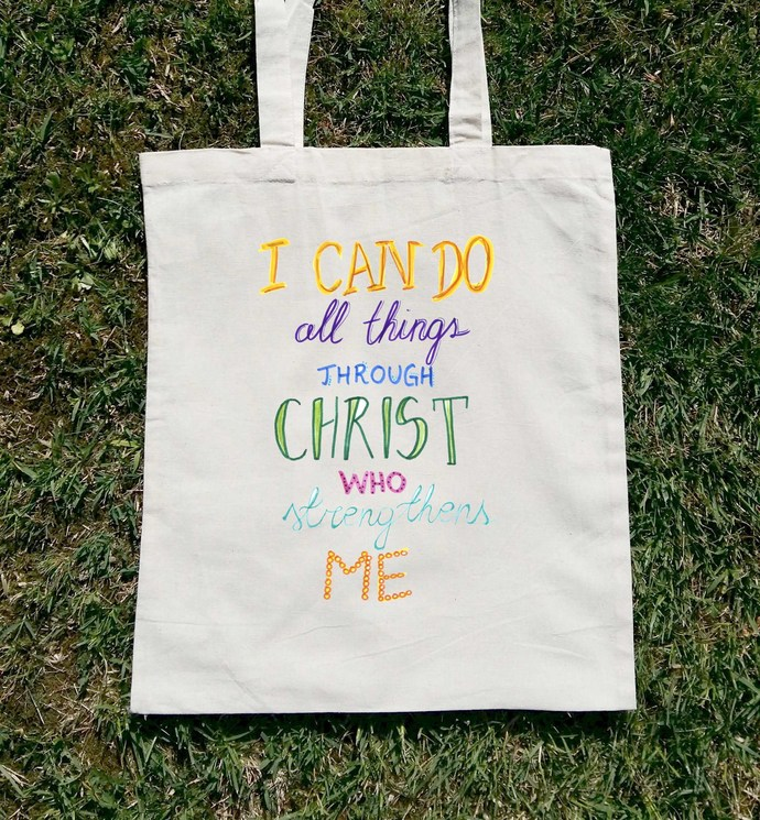 Christian I Can Do All Things Trough Christ, Canvas Tote, Woman Tote Bag