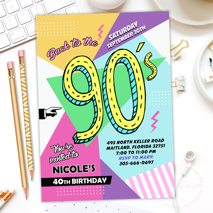 90s Invitation Party Birthday Retro Back To The Digital File