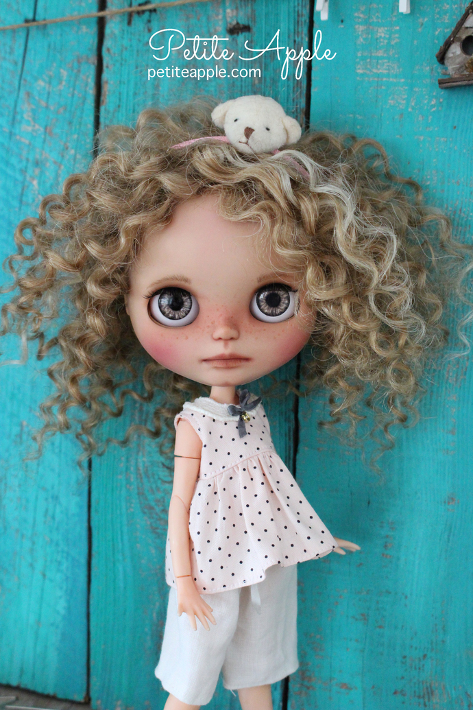 SALE! Pants and shirt for Blythe doll, Pure linen 2 pieces *Beach time*