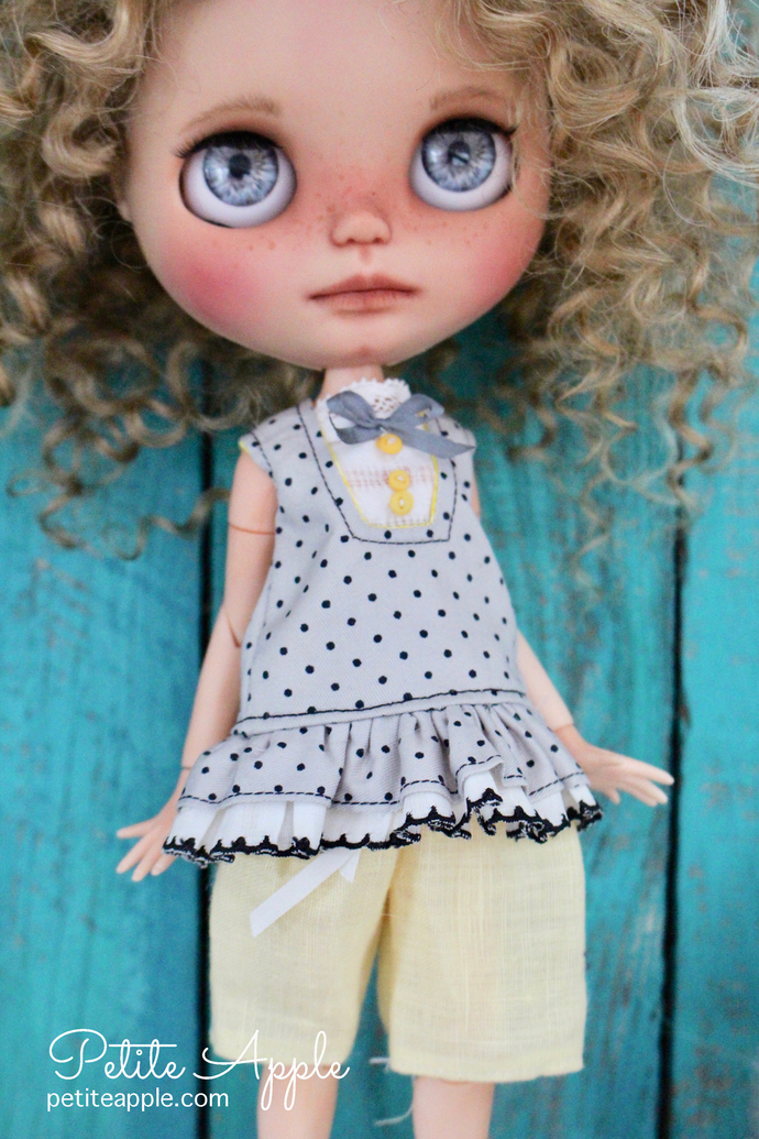 SALE! Pants and shirt set for Blythe doll, *Beach party*  pure linen shorts