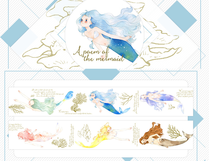 1 Roll of Limited Edition Washi Tape- Little Mermaids