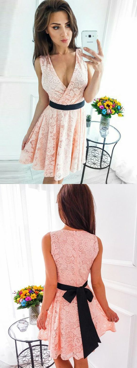 A-Line V-Neck Short Pink Lace Homecoming Dresses