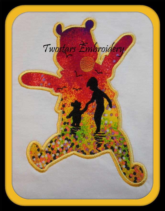 Pooh bear with Chrisptor Robbins silhouette design 4x4 5x7 6x10 digital applique