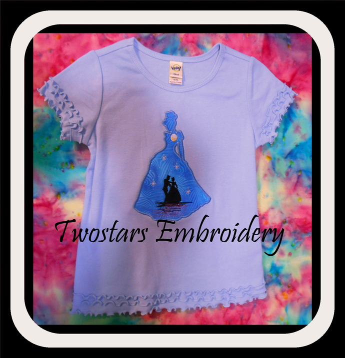 Cinderella and prince silhouette applique design in 5x7 6x10 digital file