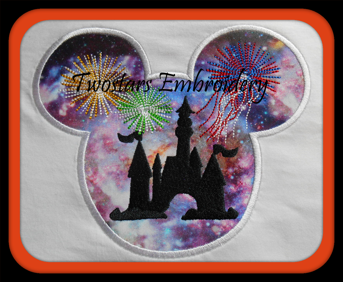 Silhouette of Disney castel in Mickey head with fireworks. Digital files in 4x4
