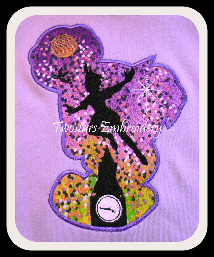 Tinkerbell silhouette applique. In 5x7 6x10 digital embroidery file.