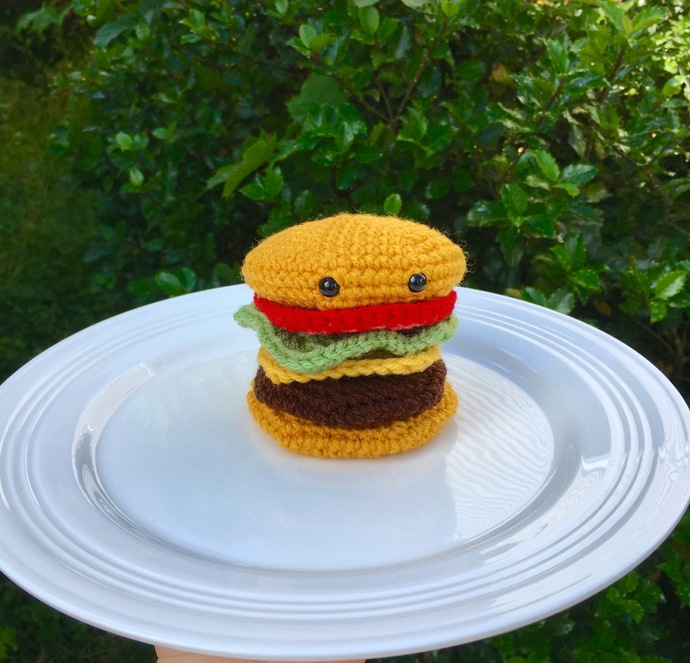 READY TO SHIP Cheeseburger Amigurumi Crochet Plush