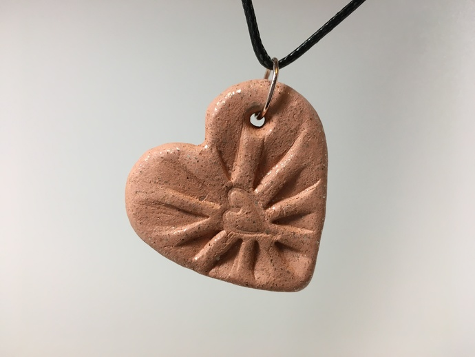 Essential Oil Clay Diffuser Pendant,  Heart, Mica Clay, Micaceous Clay, Car