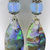 Feathers and Sparkle Earrings - abalone dichroic drop sterling silver rainbow
