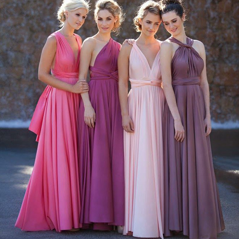 Convertible A-Line Chiffon Floor Length Bridesmaid Dress, Convertible Evening