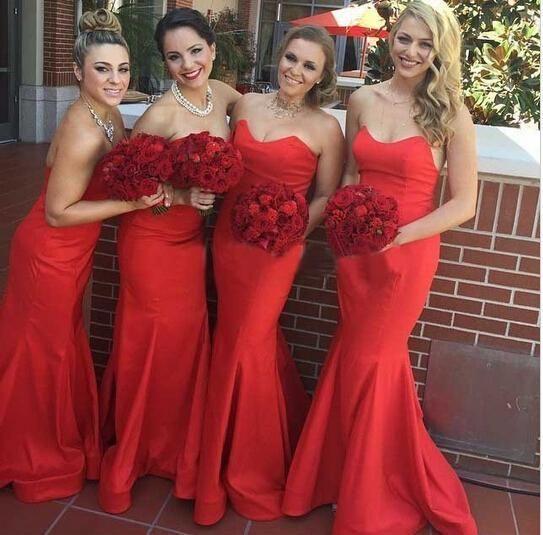 Red Strapless Sweetheart Neckline Mermaid Floor Length Satin Bridesmaid Dress