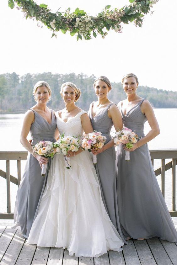 Grey Wedding Dress.Grey Bridesmaid Dress V Neck Bridesmaid Dress Chiffon Long Bridesmaid Dresses Bridesmaid Dress