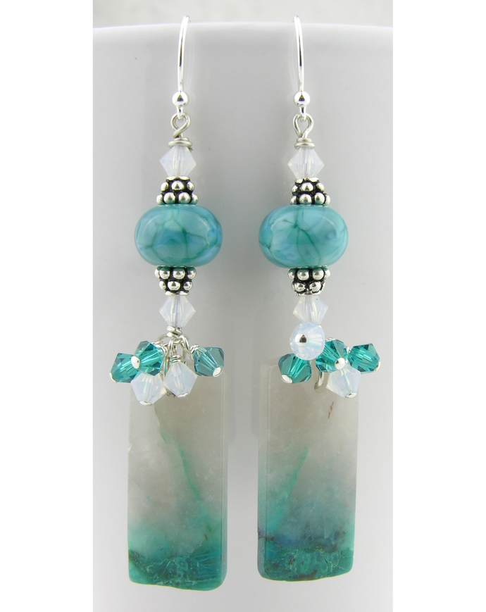 Ending in Teal Earrings - chrysocolla quartz drop sterling silver lampwork white