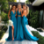 Formal Evening Dresses Fabulous Chiffon Blue Two Piece Split V-neck Bridesmaid