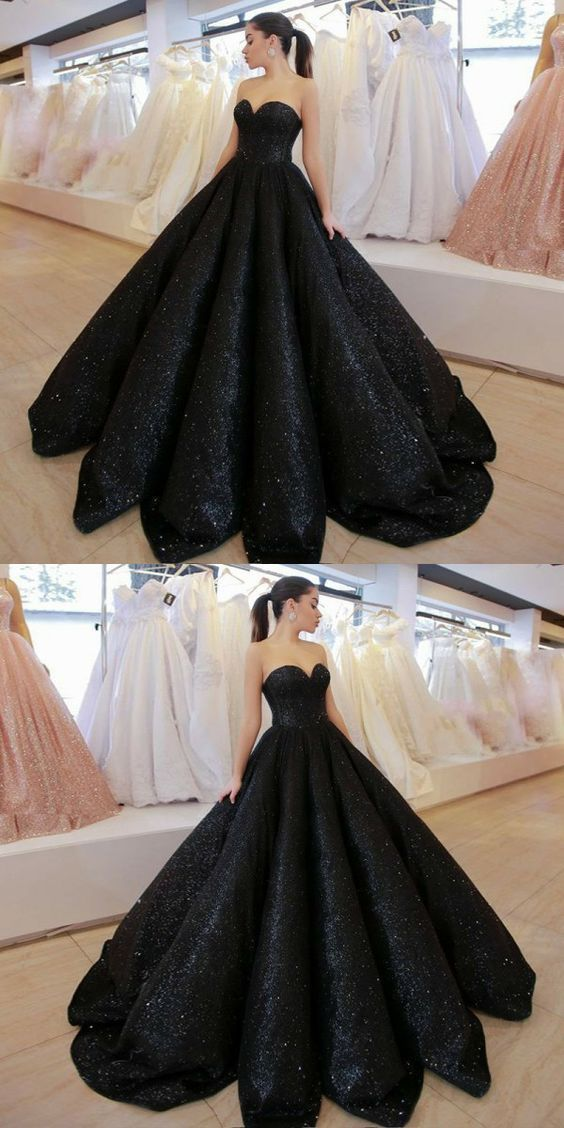modest black sweetheart prom dresses, simple by MeetBeauty on Zibbet