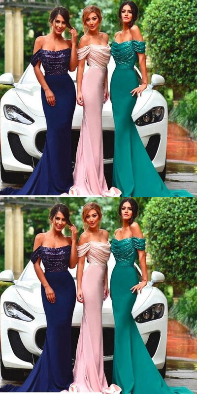 Sequins Mermaid Bridesmaid Prom Dress,Off the Shoulder Prom Dress,Custom Made