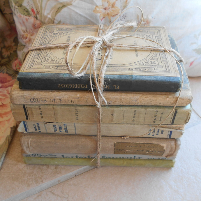 antique french book bundle shabby chic by tiggy and pip on zibbet rh zibbet com shabby chic bookcases for sale shabby chic book covers