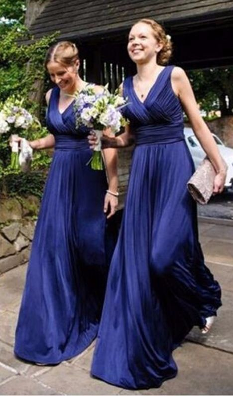 A line Long Sexy Bridesmaid dresses V-neck Sleeveless Pleats Elegant Women