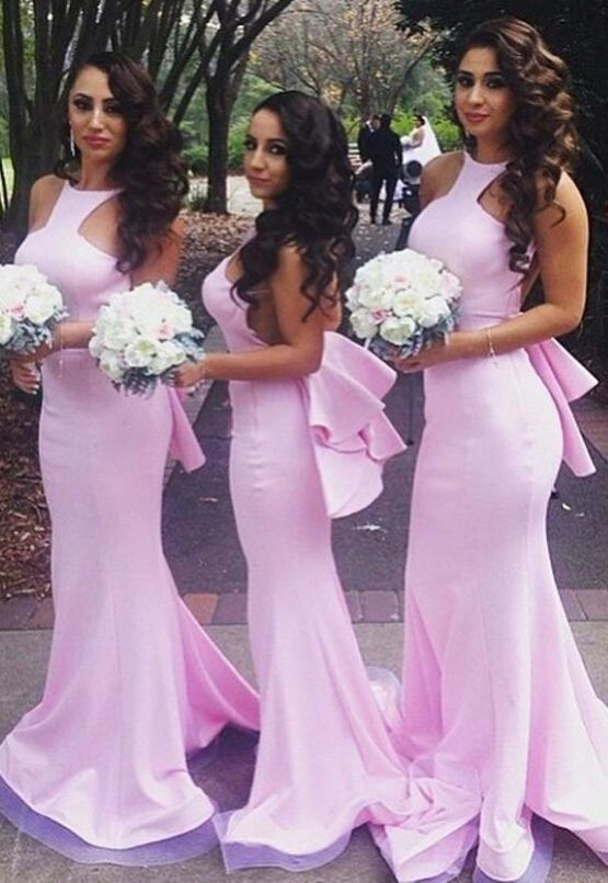 Sexy Mermaid Pink Backless Bridesmaid Dresses Halter Custom Made Long Gowns