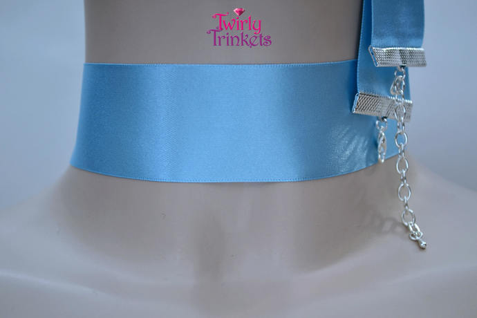 BABY BLUE Extra Wide Double Satin 35mm 1.5 inch Ribbon Choker Necklace, handmade