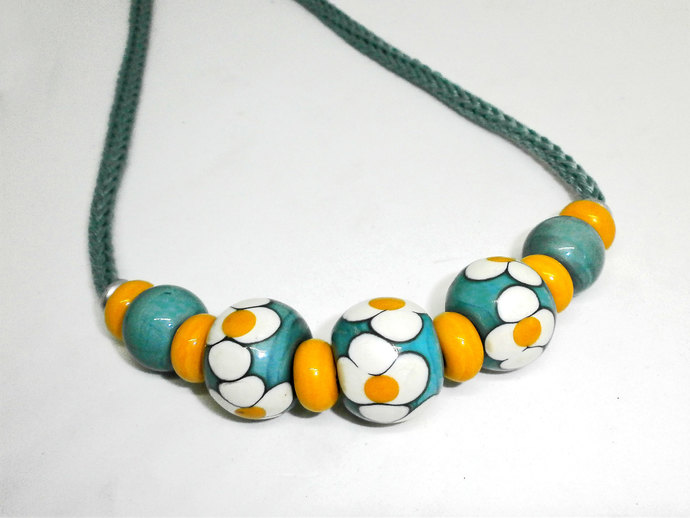 Statement Necklace, Lampwork Bead and Cotton Cord Necklace