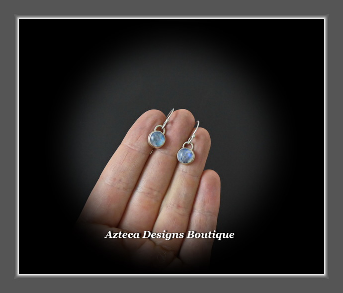 Round Smooth Rainbow Moonstone Argentium (93.5) Silver Hand Fabricated Earrings