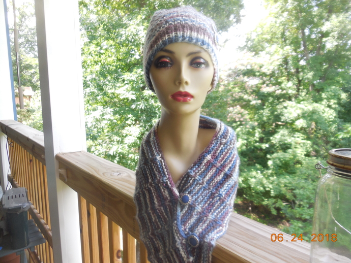 Blue Cranberry Scarflette and Beanie