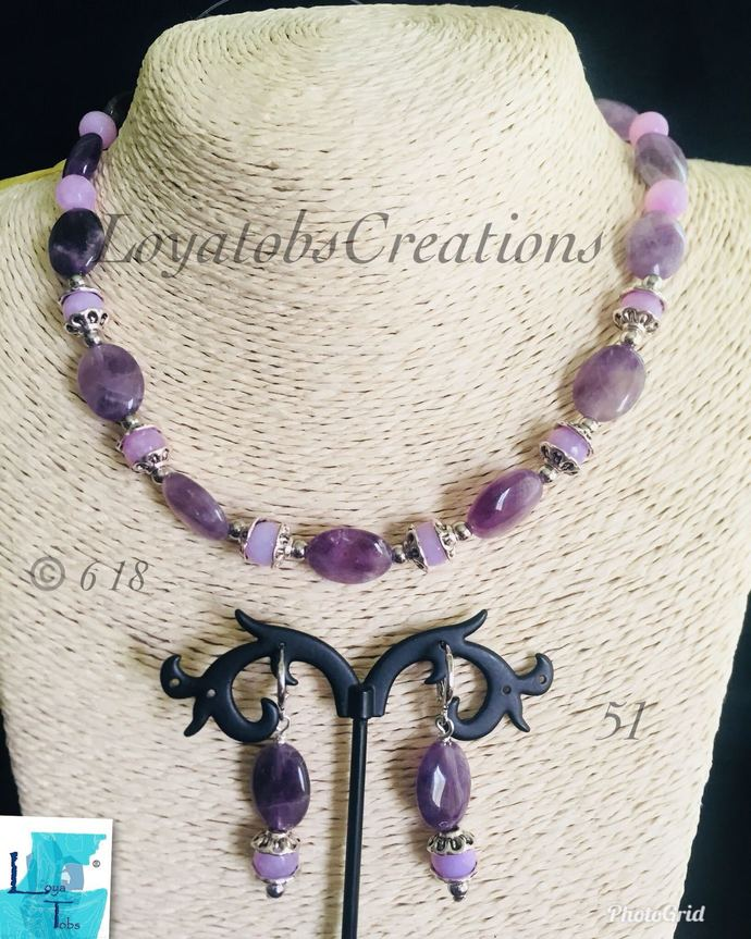 The Purple Lady Necklace and Earring Set