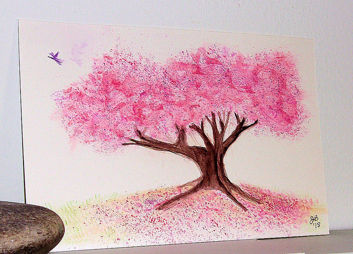 Flowering Cherry Tree, original watercolor painting, 9 x 6 inches - Free US