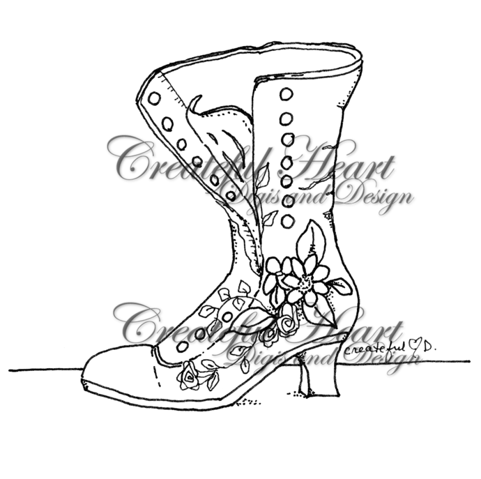 Victorian Flowered Boot, digital stamp