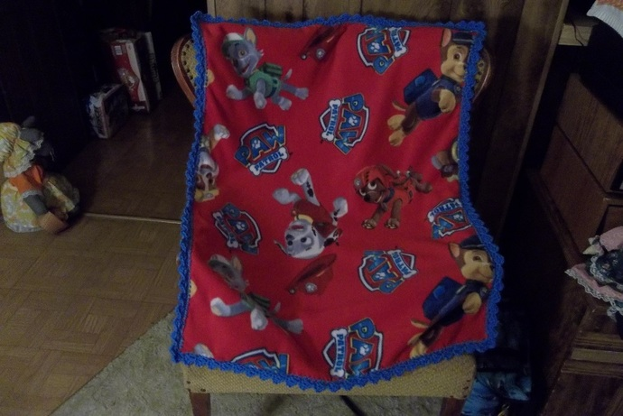 Paw Patrol Baby Fleece Blanket, with Blue Crochet Edging Mother to Be Gift Baby