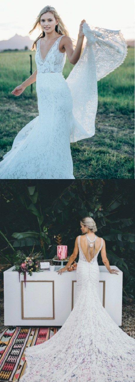 v neck wedding dresses, backless bridal dresses, by Hiprom on Zibbet